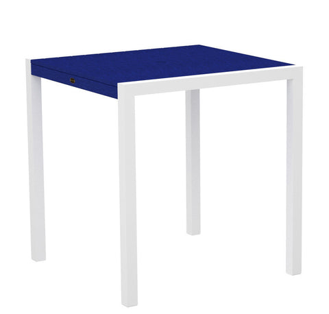 "Polywood 8101-13PB MOD 36"" Counter Table in Textured White Aluminum Frame / Pacific Blue - PolyFurnitureStore"