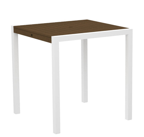 "Polywood 8101-13TE MOD 36"" Counter Table in Textured White Aluminum Frame / Teak - PolyFurnitureStore"