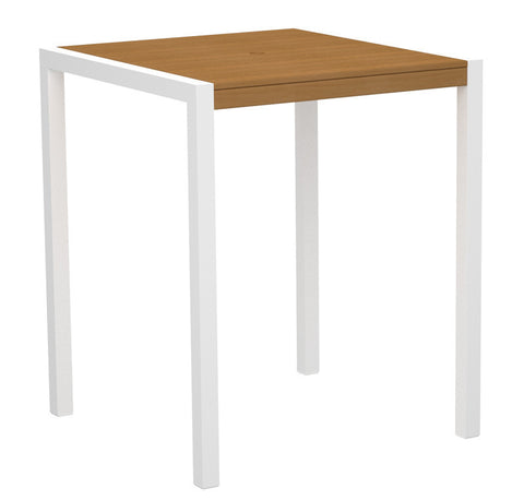 "Polywood 8102-10NT MOD 36"" Bar Table in Gloss White Aluminum Frame / Plastique - PolyFurnitureStore"