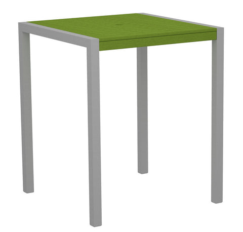"Polywood 8102-11LI MOD 36"" Bar Table in Textured Silver Aluminum Frame / Lime - PolyFurnitureStore"