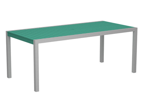 "Polywood 8300-11AR MOD 36"" x 73"" Dining Table in Textured Silver Aluminum Frame / Aruba - PolyFurnitureStore"