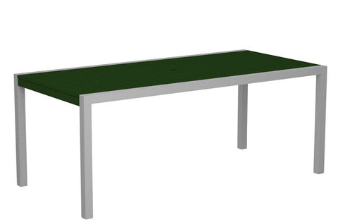 "Polywood 8300-11GR MOD 36"" x 73"" Dining Table in Textured Silver Aluminum Frame / Green - PolyFurnitureStore"