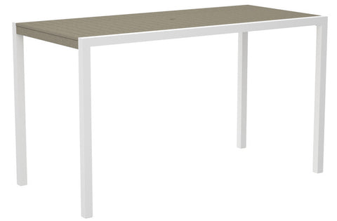 "Polywood 8302-13SA MOD 36"" x 73"" Bar Table in Textured White Aluminum Frame / Sand - PolyFurnitureStore"