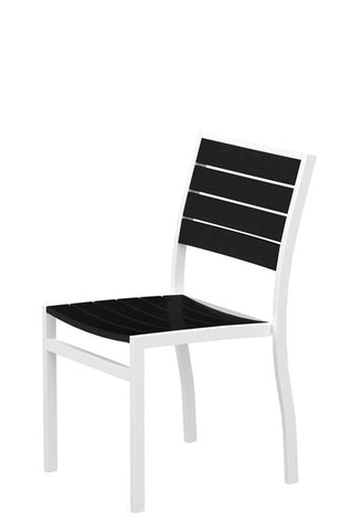 Polywood A100-13BL Euro Dining Side Chair in Textured White Aluminum Frame / Black - PolyFurnitureStore