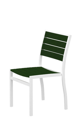 Polywood A100-13GR Euro Dining Side Chair in Textured White Aluminum Frame / Green - PolyFurnitureStore