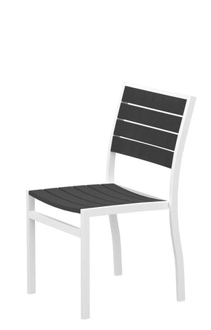 Polywood A100-13GY Euro Dining Side Chair in Textured White Aluminum Frame / Slate Grey - PolyFurnitureStore