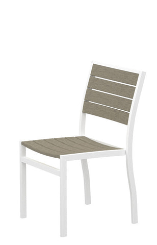 Polywood A100-13SA Euro Dining Side Chair in Textured White Aluminum Frame / Sand - PolyFurnitureStore