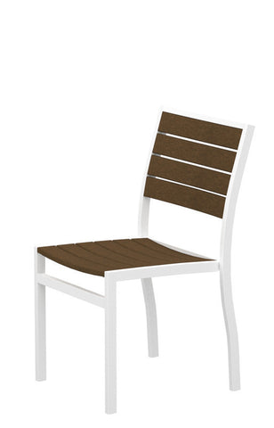 Polywood A100-13TE Euro Dining Side Chair in Textured White Aluminum Frame / Teak - PolyFurnitureStore