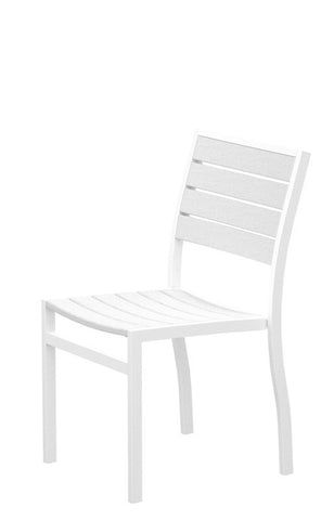 Polywood A100-13WH Euro Dining Side Chair in Textured White Aluminum Frame / White - PolyFurnitureStore