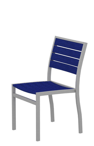 Polywood A100FASPB Euro Dining Side Chair in Textured Silver Aluminum Frame / Pacific Blue - PolyFurnitureStore