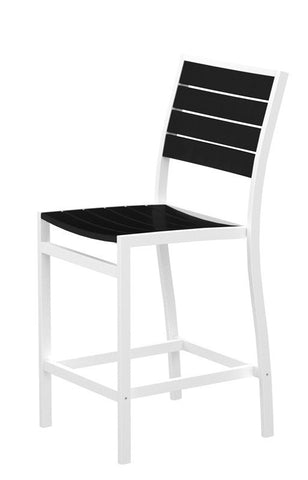 Polywood A101-13BL Euro Counter Side Chair in Textured White Aluminum Frame / Black - PolyFurnitureStore