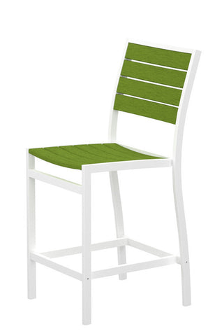 Polywood A101-13LI Euro Counter Side Chair in Textured White Aluminum Frame / Lime - PolyFurnitureStore