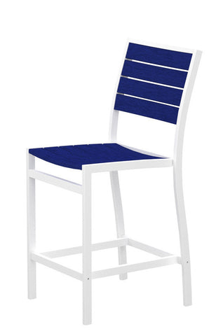Polywood A101-13PB Euro Counter Side Chair in Textured White Aluminum Frame / Pacific Blue - PolyFurnitureStore
