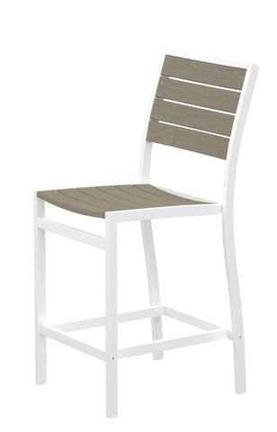 Polywood A101-13SA Euro Counter Side Chair in Textured White Aluminum Frame / Sand - PolyFurnitureStore