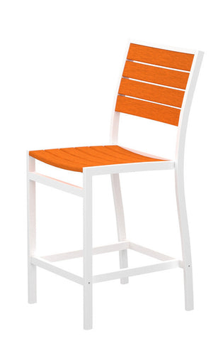 Polywood A101-13TA Euro Counter Side Chair in Textured White Aluminum Frame / Tangerine - PolyFurnitureStore