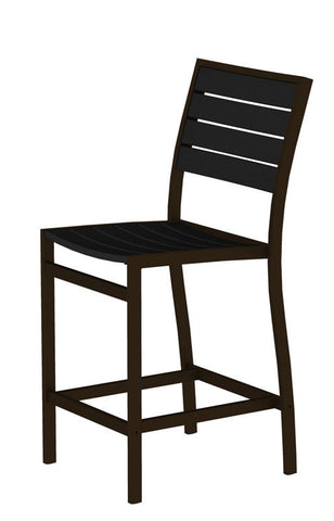Polywood A101-16BL Euro Counter Side Chair in Textured Bronze Aluminum Frame / Black - PolyFurnitureStore