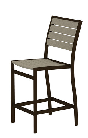 Polywood A101-16SA Euro Counter Side Chair in Textured Bronze Aluminum Frame / Sand - PolyFurnitureStore