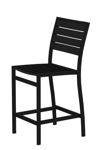 Polywood A101FABBL Euro Counter Side Chair in Textured Black Aluminum Frame / Black - PolyFurnitureStore