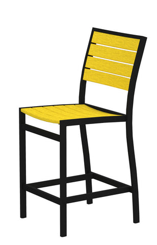 Polywood A101FABLE Euro Counter Side Chair in Textured Black Aluminum Frame / Lemon - PolyFurnitureStore