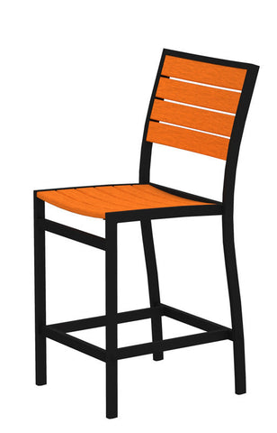 Polywood A101FABTA Euro Counter Side Chair in Textured Black Aluminum Frame / Tangerine - PolyFurnitureStore