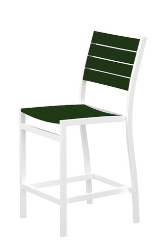 Polywood A101FAWGR Euro Counter Side Chair in Gloss White Aluminum Frame / Green - PolyFurnitureStore