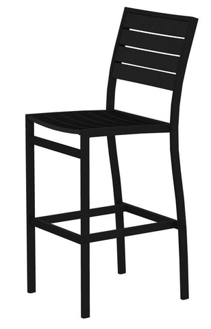 Polywood A102FABBL Euro Bar Side Chair in Textured Black Aluminum Frame / Black - PolyFurnitureStore