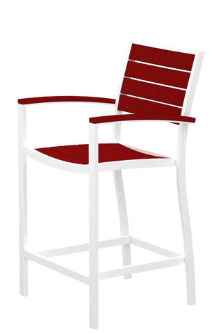 Polywood A201-13SR Euro Counter Arm Chair in Textured White Aluminum Frame / Sunset Red - PolyFurnitureStore
