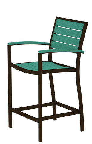 Polywood A201-16AR Euro Counter Arm Chair in Textured Bronze Aluminum Frame / Aruba - PolyFurnitureStore