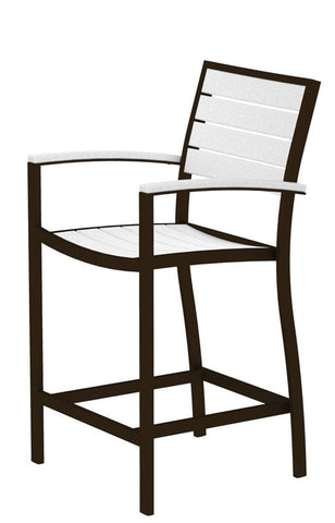Polywood A201-16WH Euro Counter Arm Chair in Textured Bronze Aluminum Frame / White - PolyFurnitureStore