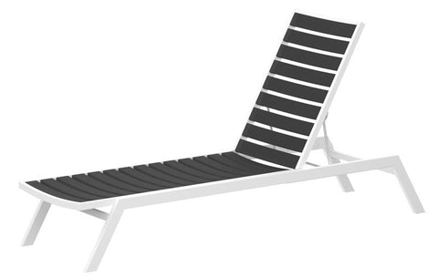 Polywood AC1-13GY Euro Chaise in Textured White Aluminum Frame / Slate Grey - PolyFurnitureStore