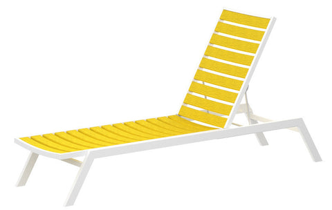 Polywood AC1-13LE Euro Chaise in Textured White Aluminum Frame / Lemon - PolyFurnitureStore