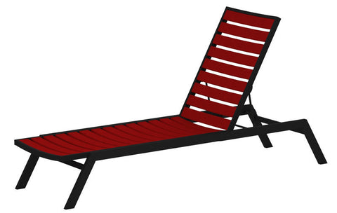 Polywood AC1FABSR Euro Chaise in Textured Black Aluminum Frame / Sunset Red - PolyFurnitureStore