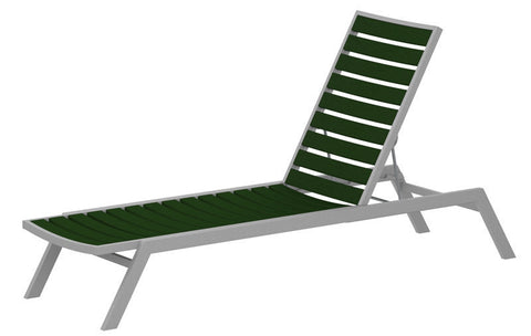 Polywood AC1FASGR Euro Chaise in Textured Silver Aluminum Frame / Green - PolyFurnitureStore
