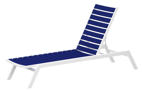 Polywood AC1FAWPB Euro Chaise in Gloss White Aluminum Frame / Pacific Blue - PolyFurnitureStore