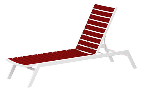 Polywood AC1FAWSR Euro Chaise in Gloss White Aluminum Frame / Sunset Red - PolyFurnitureStore