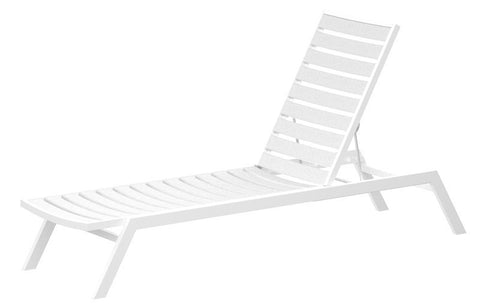 Polywood AC1FAWWH Euro Chaise in Gloss White Aluminum Frame / White - PolyFurnitureStore