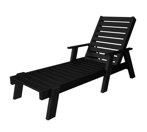 Polywood AC2678-1BL Captain Chaise with Arms in Black - PolyFurnitureStore
