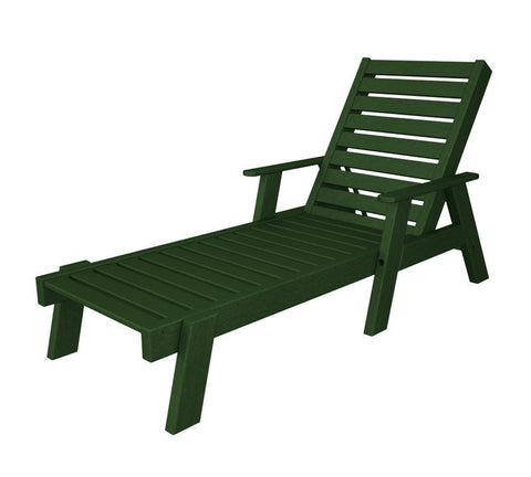 Polywood AC2678-1GR Captain Chaise with Arms in Green - PolyFurnitureStore