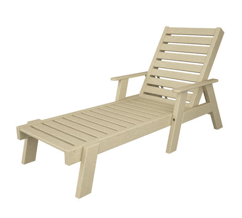 Polywood AC2678-1SA Captain Chaise with Arms in Sand - PolyFurnitureStore