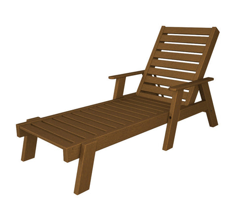Polywood AC2678-1TE Captain Chaise with Arms in Teak - PolyFurnitureStore