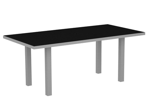 "Polywood AT3672FASBL Euro 36"" x 72"" Dining Table in Textured Silver Aluminum Frame / Black - PolyFurnitureStore"