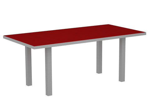 "Polywood AT3672FASSR Euro 36"" x 72"" Dining Table in Textured Silver Aluminum Frame / Sunset Red - PolyFurnitureStore"
