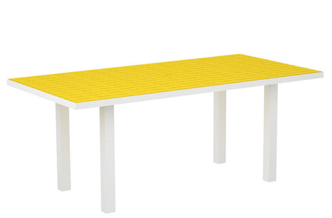 "Polywood AT3672FAWLE Euro 36"" x 72"" Dining Table in Gloss White Aluminum Frame / Lemon - PolyFurnitureStore"