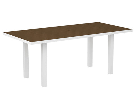 "Polywood AT3672FAWTE Euro 36"" x 72"" Dining Table in Gloss White Aluminum Frame / Teak - PolyFurnitureStore"