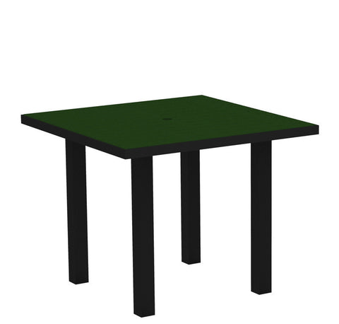 "Polywood AT36FABGR Euro 36"" Square Dining Table in Textured Black Aluminum Frame / Green - PolyFurnitureStore"