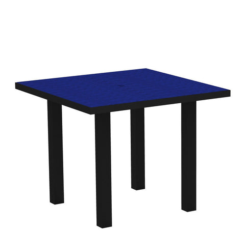"Polywood AT36FABPB Euro 36"" Square Dining Table in Textured Black Aluminum Frame / Pacific Blue - PolyFurnitureStore"