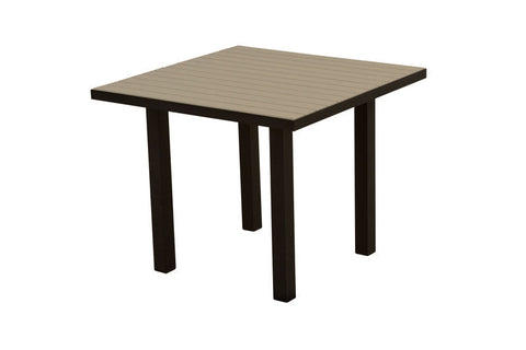 "Polywood AT36FABSA Euro 36"" Square Dining Table in Textured Black Aluminum Frame / Sand - PolyFurnitureStore"