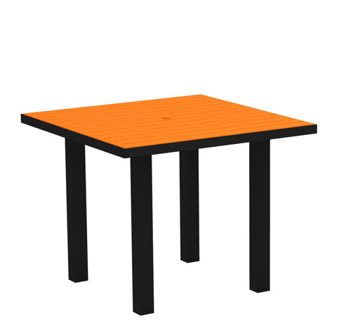"Polywood AT36FABTA Euro 36"" Square Dining Table in Textured Black Aluminum Frame / Tangerine - PolyFurnitureStore"