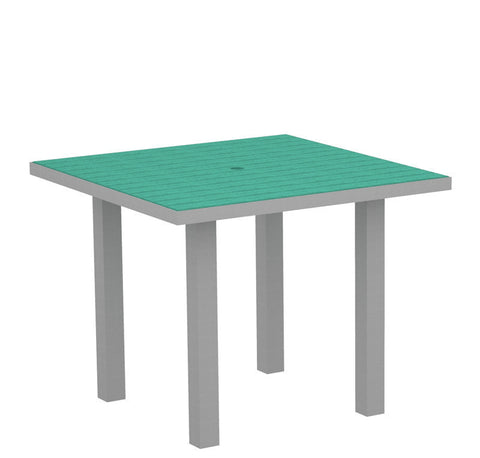 "Polywood AT36FASAR Euro 36"" Square Dining Table in Textured Silver Aluminum Frame / Aruba - PolyFurnitureStore"