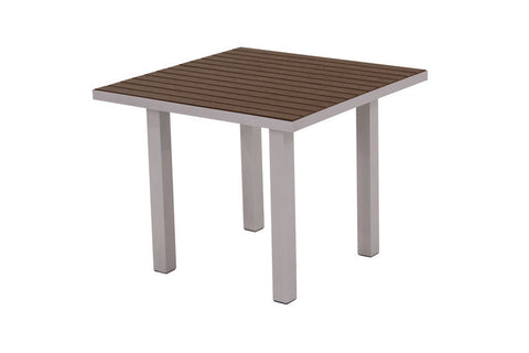 "Polywood AT36FASMA Euro 36"" Square Dining Table in Textured Silver Aluminum Frame / Mahogany - PolyFurnitureStore"